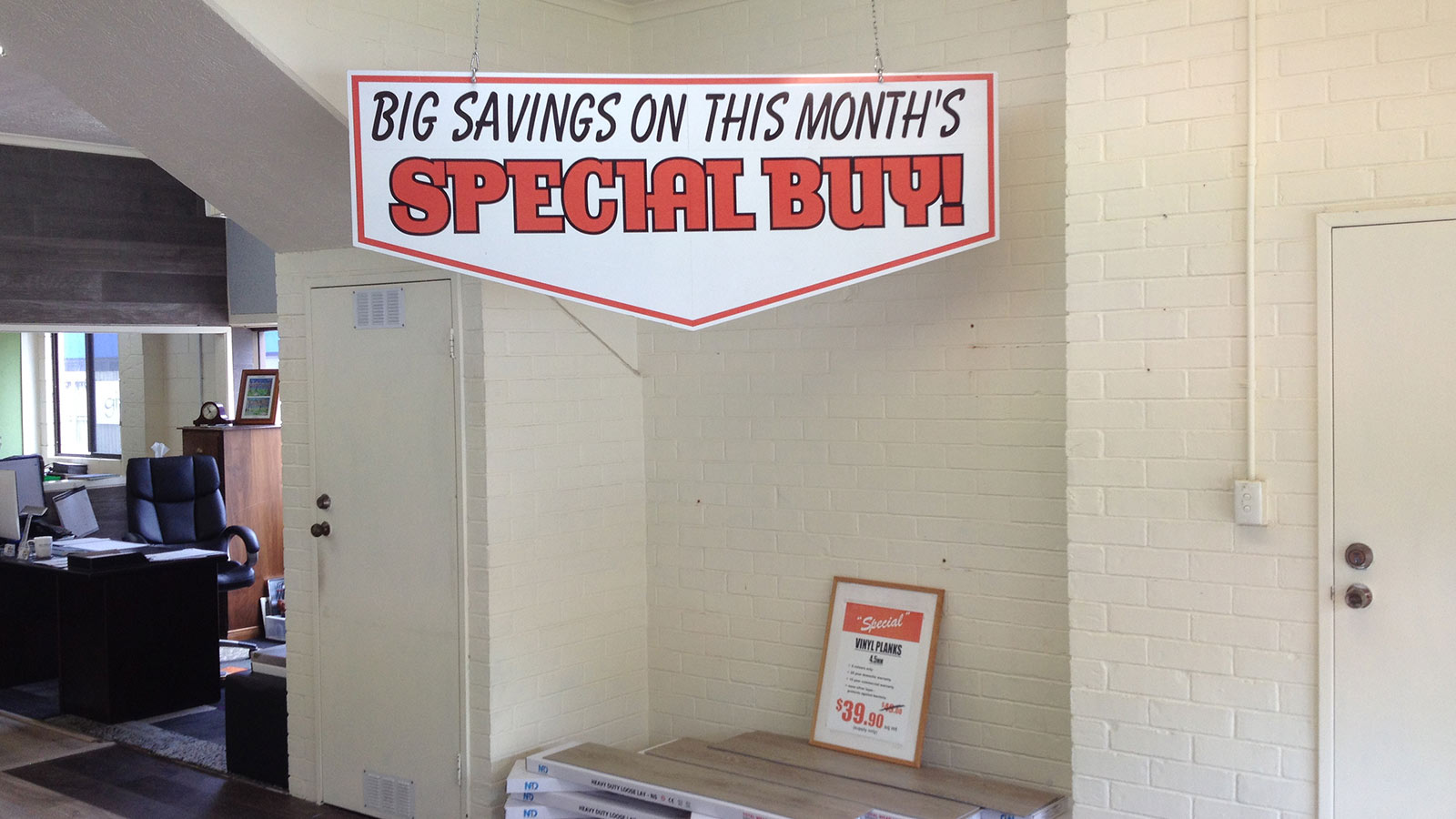Monthly Specials Rack at the Flooring Depot, Gold Coast